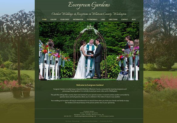 Evergreen Gardens Weddings new website by Ritama Design